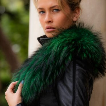 Emerald Green Raccoon Fur Collar