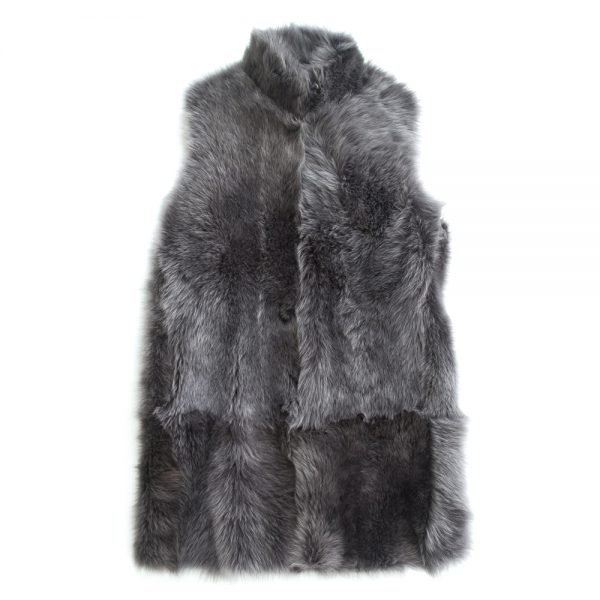 Pale Grey Long Toscana Sheepskin Gilet