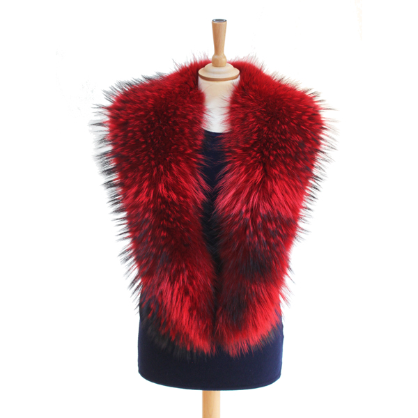 Red Raccoon Fur Collars