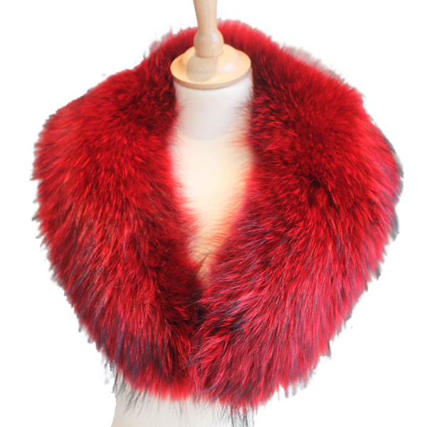 Red Raccoon Fur Collar