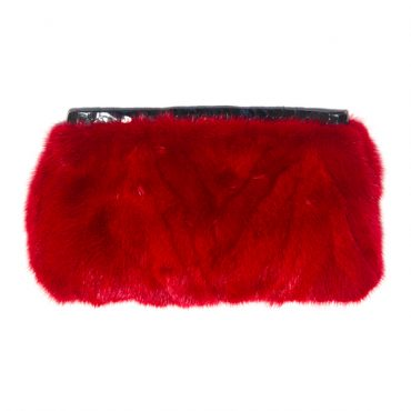 Valentines Day Red Vintage Mink Clutch