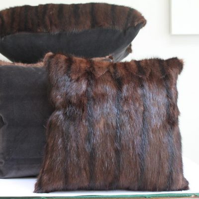 Mushroom Vintage Fur and Velvet Large Cushion