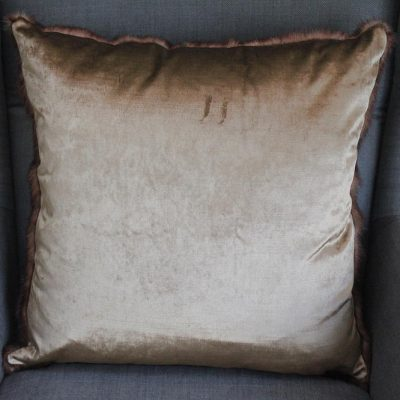 Champagne Vintage Fur & Velvet Large Cushion