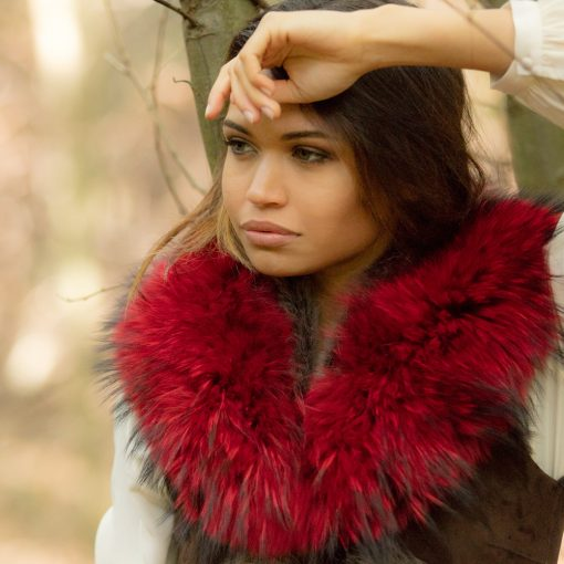 Medium Red Raccoon Fur Collar