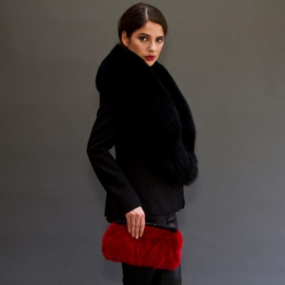 Limited Edition Vintage Red Mink Fur Clutch