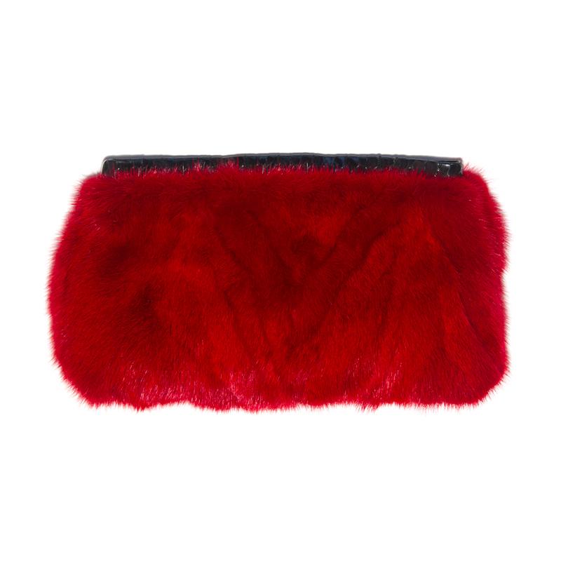 Limited Edition Vintage Red Mink Fur Clutch