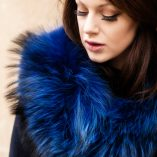 Electric Blue Medium Genuine Raccoon Fur Collar