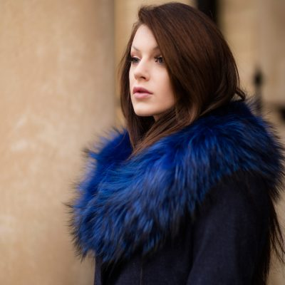 Electric Blue Medium Genuine Raccoon Fur Collar