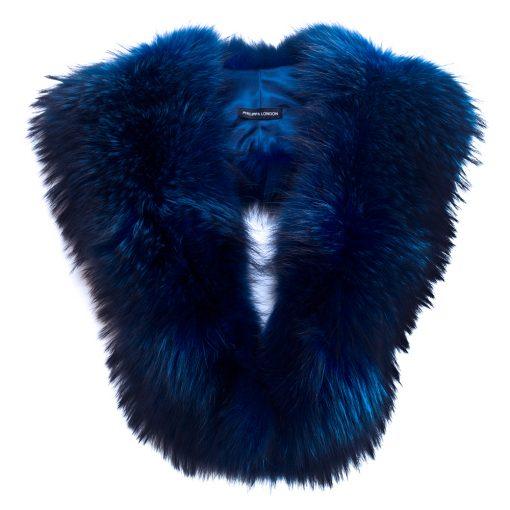 Electric Blue Large Racoon Fur Collar