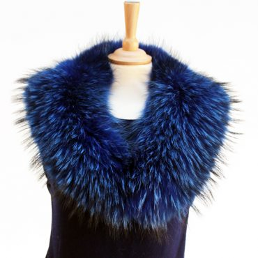 Electric Blue Medium Raccoon Fur Collar