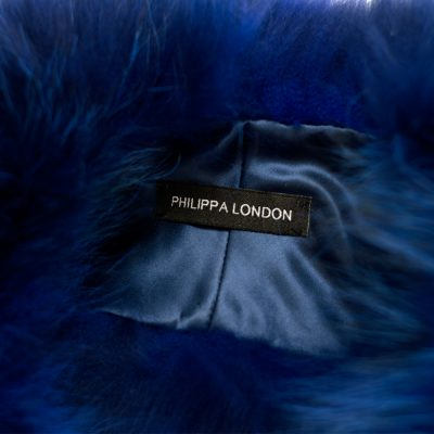 Electric Blue Medium Raccoon Fur Collar