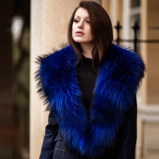Large Electric Blue Raccoon Fur Collar