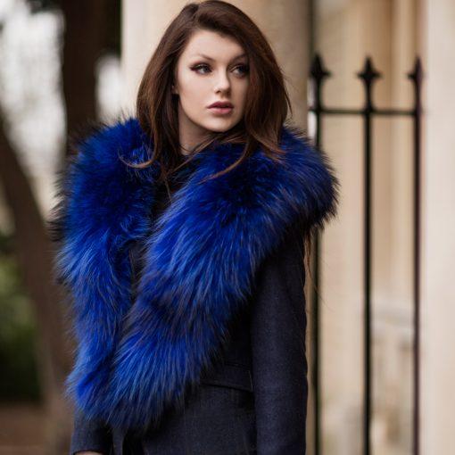 Large Electric Blue Raccoon Fur Collar