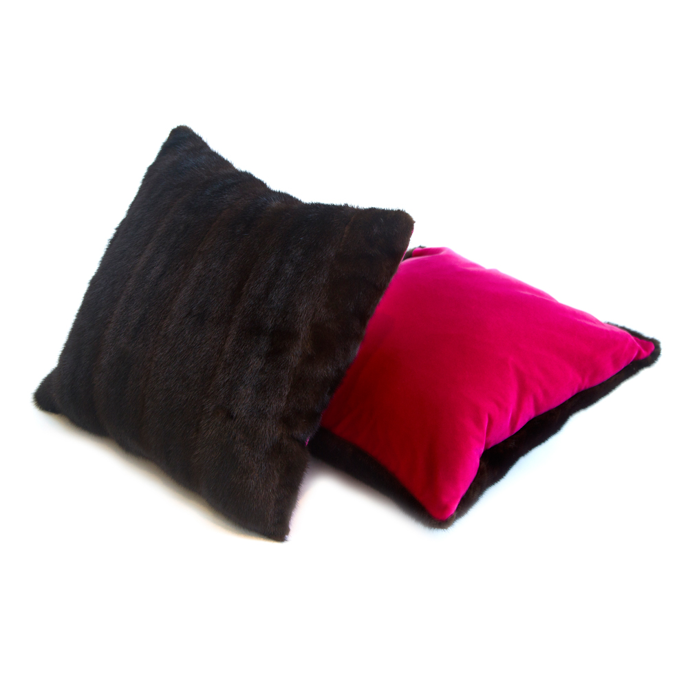 Large Fuchsia Velvet and Vintage Fur Cushion