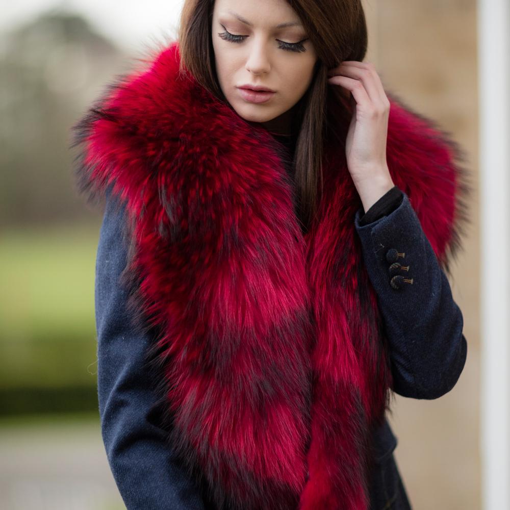 Large Red Raccoon Fur Collar