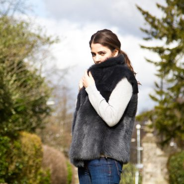 Classic Reversible Blue/Black Sheepskin Mid Thigh Gilet