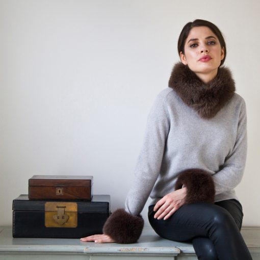 Brown Fox Fur Collar and Cuffs