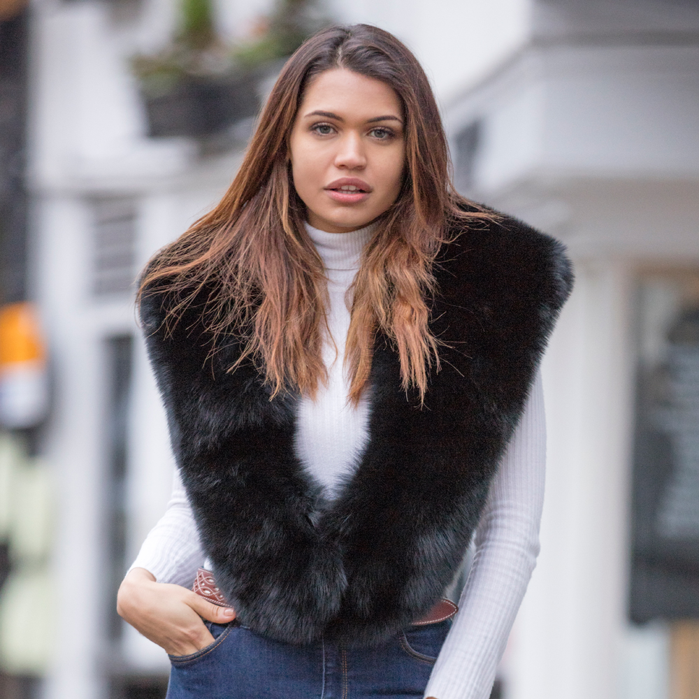 Large Black Fox Fur Collar