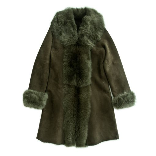 Moss Green Merino and Toscana Trimmed Coat