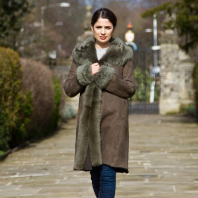 Moss Green Merino and Sheepskin Trimmed Coat