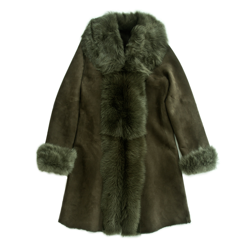 Moss Green Merino and Toscana Trimmed Coat