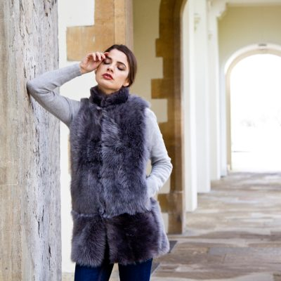 Pale Grey Long Sheepskin Sheepskin Gilet