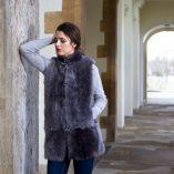 Pale Grey Long Toscana Sheepskin Gilet