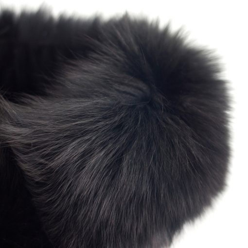 Small Black Fox Collar and Headband Close Up