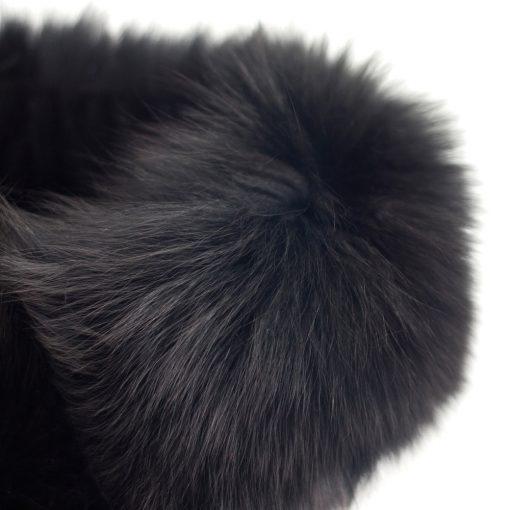 Small Black Fox Collar and Headband Close Up