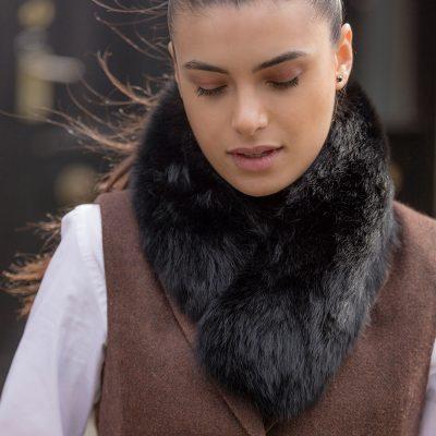 Jessica Small Black Fox Fur Collar / Headband