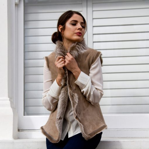 Spring Reversible Caramel Cream Sheepskin Gilet