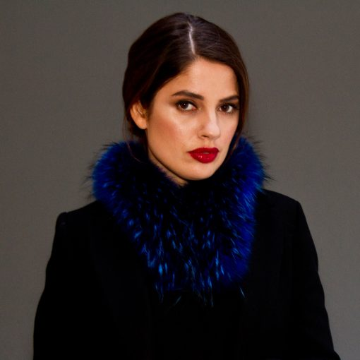 Electric Blue Small Raccoon Fur Collar