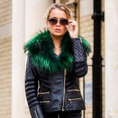 Emerald Green Medium Raccoon Fur Collar