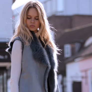 Blue Grey Reversible Sheepskin Gilet
