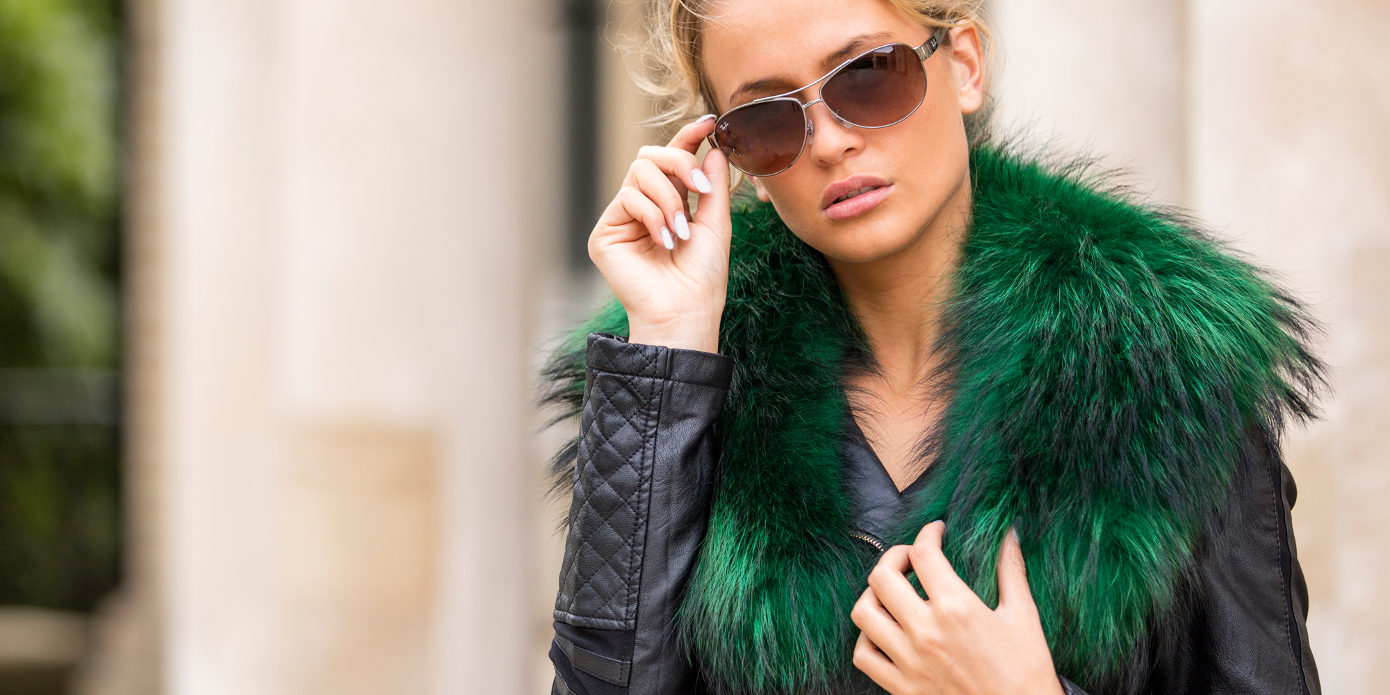 Emerald Green Genuine Raccoon Fur Collar