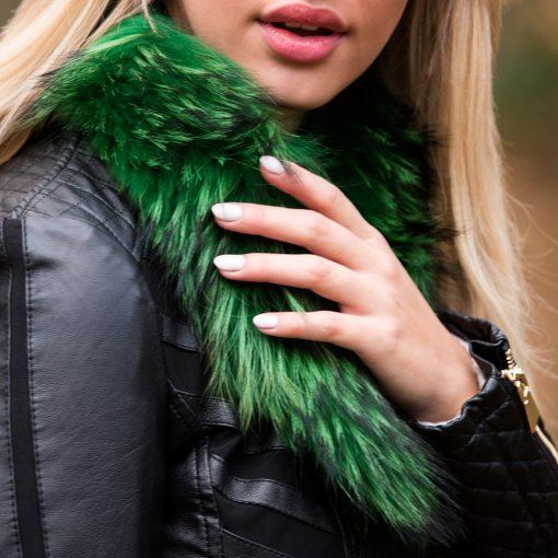 Small Emerald Green Raccoon Fur Collar