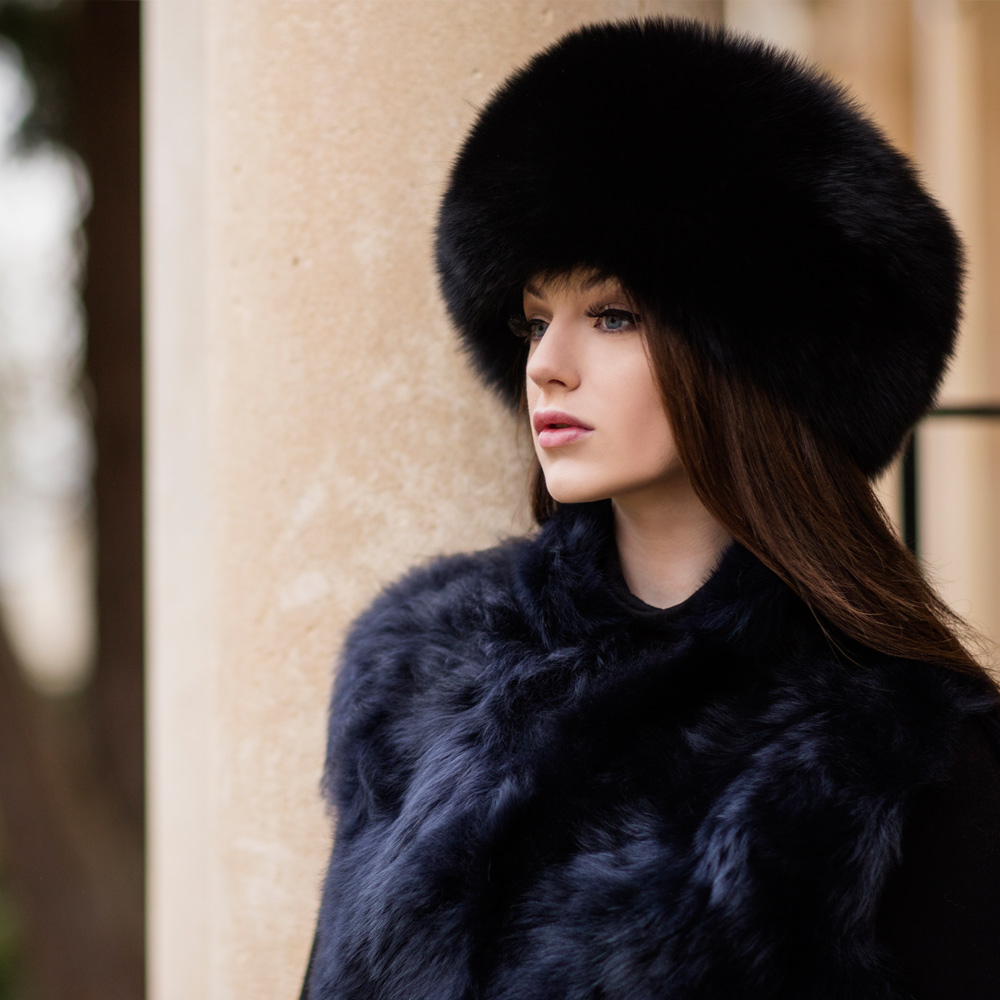 a4a5bc31e0e96d Janie Black Fox Fur Hat - Philippa London