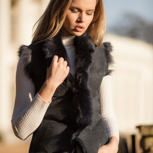 Blue Ink Reversible Sheepskin Gilet
