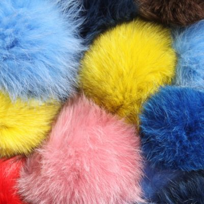 Fox Fur Pom Pom Keyrings