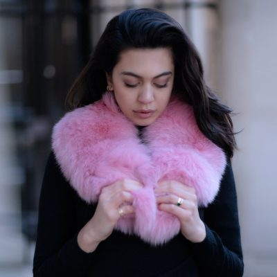 Pink Fox and Tail Fur Collar