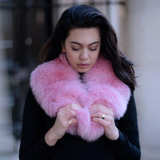 Sophie Medium Pink Fox Fur Collar