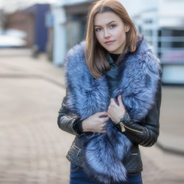 Large Silver Genuine Fox Fur Collar