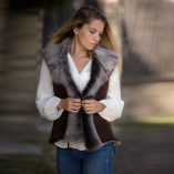 Chocolate Brown Leather Tie Sheepskin Gilet