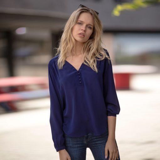 Sapphire Blue Molly Silk Blouse