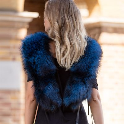 Large Blue Silver Fox Fur Collar