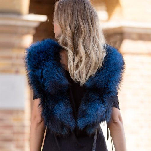 Large Blue Silver Fox Fur Collar