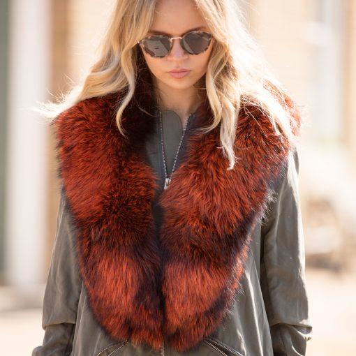 Large Orange Silver Fox Fur Collar