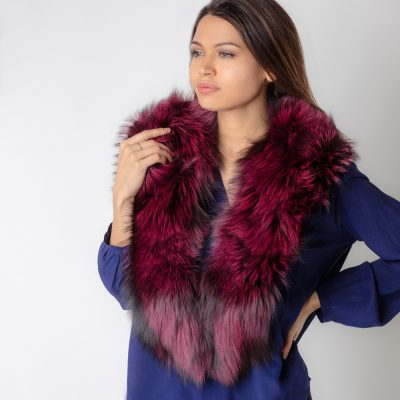 Large Plum Silver Fox Fur Collar