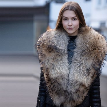 Extra Large Finn Natural Raccoon Fur Collar