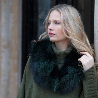 Claudie Green Medium Raccoon Fur Collar